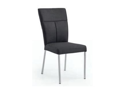 Niehoff Polsterstuhl Super Sedia für Wohnzimmer oder Küche mit Wellenfederung im Sitz und Rundrohrgestell Edelstahl gebürstet wählbarer Bezugsstoff