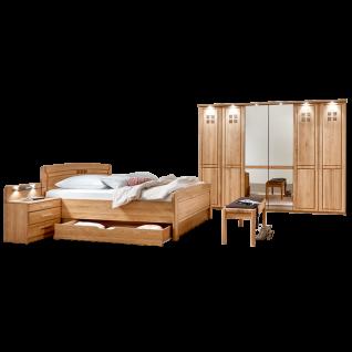 Wiemann Cortina Schlafzimmer Bett mit Bettschubkasten Drehtürenschrank mit beleuchteter Kranzleiste Nachtschränkepaar und Ankleidebank