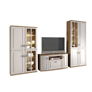Stralsunder Scala Wohnkombination EB33003 - 5-teilige Wohnwand bestehend aus 2 Säulen links einem Lowboard mittig und 2 Säulen rechts - Ausführung wählbar