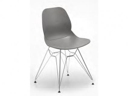 Niehoff Sushi Kunststoffdesignstuhl 4er-Set Gestell verchromt aus der Young Collection Schalenstuhl 2511 oder Schalensessel 2512 Stuhl für Esszimmer Farbe wählbar