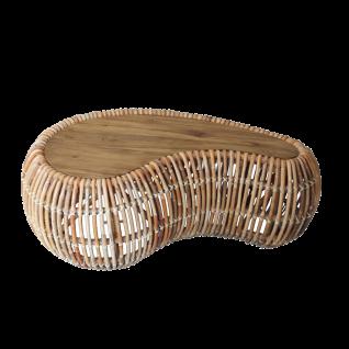 Sit Möbel RATTAN Couchtisch aus Rattan und Tischlatte aus recycelten Teakholz