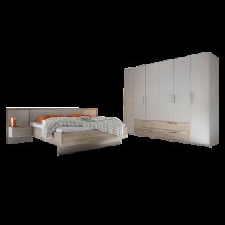 Schlafkontor Volo Schlafzimmerset 2-teilig bestehend aus einer Bettanlage mit einer Liegefläche von ca. 180 x 200 cm und 6-türigen Kleiderschrank Paneel Glasablage mit Beleuchtung Passepartout und Bettschubkästen optional wählbar