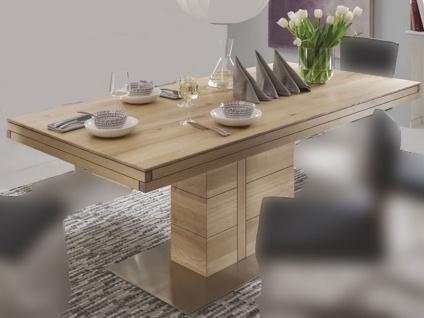 Wimmer Atria Esstisch F4-80 in verschiedenen Längen und Breiten wählbar Massivholz Tischplatte mit Synchronauszug Verlängerungsplatte ca. 80 cm für Esszimmer und Küche