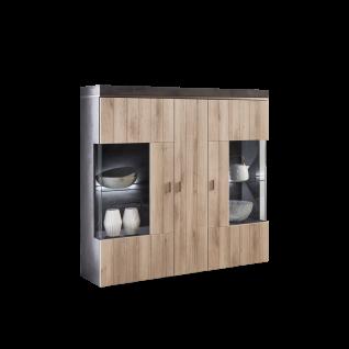 Ideal-Möbel Ribeira Highboard Type 51 mit zwei Glastüren und einer Holztür für Ihr Wohnzimmer oder Esszimmer moderne Anrichte mit Korpus in Oxid Melamin Absetzung in MDF Profill ummantelt und Front in Kronberg Eiche hell Folie