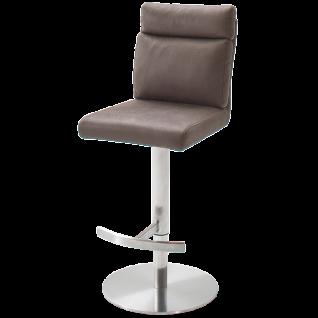 MCA furniture Barhocker Rabea Art.Nr. REBR16BX mit Höhenverstellung Sitz drehbar Bezug Antiklook Braun Gestell Edelstahl gebürstet