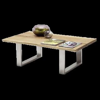 MCA furniture Couchtisch Sandro Asteiche Massivholz geölt gewachst mit durchgehenden Lamellen Metallgestell Art.Nr. 58770EIA Baumkante Gestell Metall