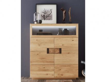 Wöstmann C200 Casa Avanti Highboard 4145 mit einer Klappe und zwei Türen Kommode in Massivholz europ. Wildeiche geölt für Wohnzimmer oder Esszimmer Beleuchtung wählbar