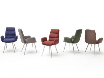 MCA Furniture Fida Polsterstuhl mit Armlehne 2er Set mit Gestell Rundrohr Bezug wählbar für Speisezimmer oder Esszimmer
