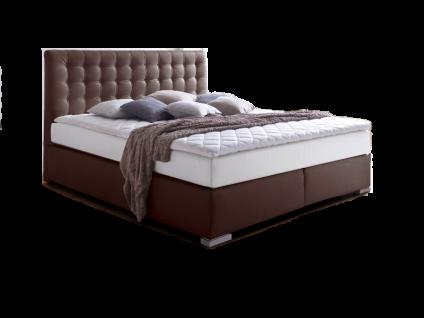 Meise Möbel ISA Boxspringbett mit Kunstlederbezug und gestepptem Kopfteil Liegefläche Farbe und Matratzen im weißen Klima-Drellbezug Variante wählbar optional mit Topper
