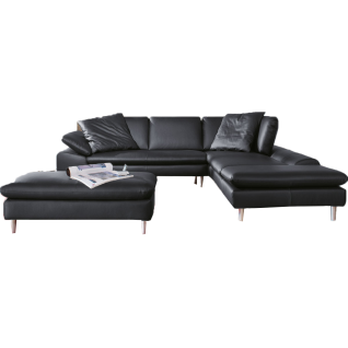 Willi Schillig Ecksofa Loop 29858 kombiniert mit einem exklusiven Hocker für ein einzigartiges Sitzgefühl im eleganten Design mit einem hochwertigen Echtlederbezug in der Farbe schwarz Z59/99