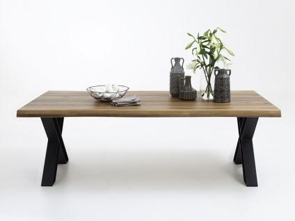 Bodahl Nature Esstisch rustic oak mit X-Beinen und Baumkante Massivholz Tisch ca. 100 cm breit Speisezimmertisch in vier Längen und sieben Ausführungen wählbar