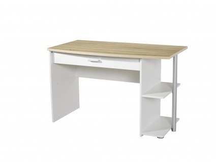 Rauch Packs POINT Schreibtisch mit 1 Schubkasten und Regal, Korpus/Front Alpinweiß, Absetzung Dekor-Druck Eiche Sonoma