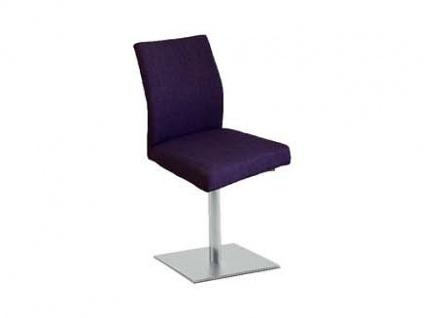 MWA Aktuell Stuhlsystem Luana X26-Plum-XDN aus der Linea Dining Serie Stuhl für Esszimmer Gestell X26 in Edelstahl mit Drehfunktion Sitzschale ohne Armlehnen XDN und Bezugstoff Farbe Clover