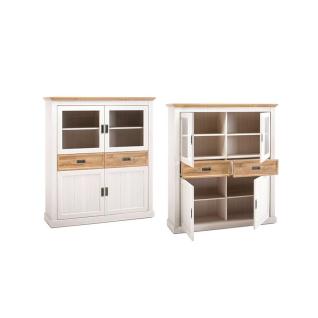 MCA Furniture Cleveland Highboard T05 für Ihr Wohnzimmer oder Esszimmer Anrichte im Landhausstil mit zwei Türen zwei Glastüren und zwei Schubkästen Korpus und Front Dekor new white mit Absetzungen in Wildeiche Dekor - Vorschau 3