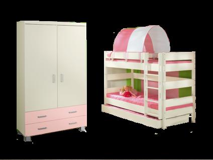 Paidi Biancomo Kinderzimmer bestehend aus Kleiderschrank 2-türig mit Absetzung rose?Etagenbett 155 mit Bettkasten-Unterschiebebett in Ecru optional mit Halb-Zelt