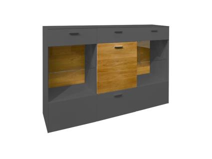 Mäusbacher Arizona Kommode 12-2GL-E für Ihr Wohnzimmer oder Esszimmer mit 3 Türen und zwei Schubkästen Korpusdekor wählbar weiß oder anthrazit Absetzung Wildeiche geölt - Vorschau 3