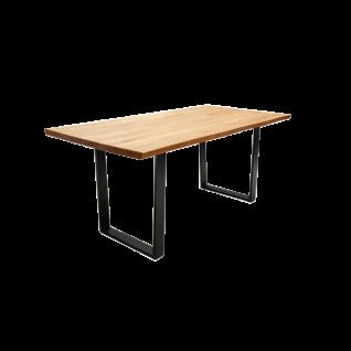 Schösswender Oviedo Esstisch Oviedo 4 Baumtisch mit Tischplatte in Wildeiche geölt Massivholz mit Baumkante und Gestell in Metall schwarz pulverbeschichtet Tisch ohne Auszug für Ihr Esszimmer