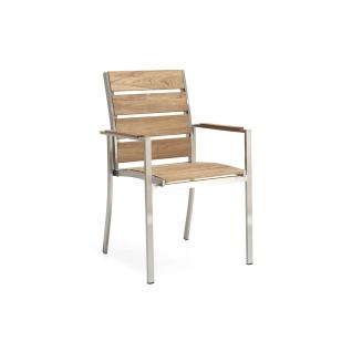 Niehoff Garden Nina Gartenstuhl G121 stapelbarer Armlehnenstuhl mit Vierfußgestell in Edelstahl gebürstet mit Sitz und Rückenlehne in Teak Massivholz Stuhl mit Armlehnauflagen in wählbarer Ausführung Holzton wählbar für Ihren Garten