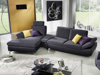K + W Polstermöbel Dive 7474 Ecksofa Polstergarnitur Wohnlandschaft mit Sitztiefenverstellung und Segmenttisch Füße Bezug wählbar