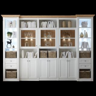 Wehrsdorfer Maison Anbauwand V627 in Lack weiß im gemütlichen Landhausstil mit Vitrinen ideal für Ihr Wohnzimmer oder Esszimmer