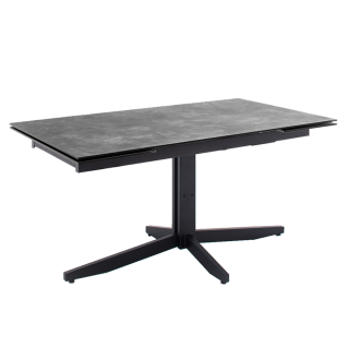 MCA furniture Esstisch Rimini Tischplatte Steinoptik grau HPL/ Sicherheitsglas Metallgestell schwarz mit Stirnauszug ca. 160 bis 240 cm