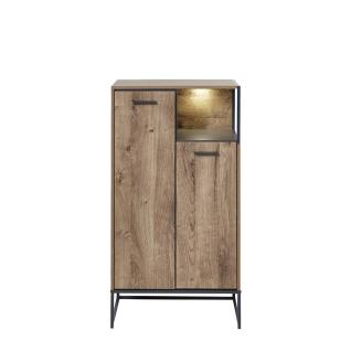Wohn-Concept Manhattan Schuhschrank 6008VV10 mit 2 Türen und einem offenen Fach in Haveleiche Cognac Nachbildung und Metall Anthrazit mit Beleuchtung