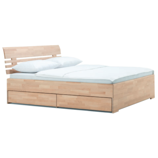 Dico Möbel Expanse System Massivholzbett mit Holzkopfteil und inklusive einseitigen Bettekasten in Buche natur geölt Liegefläche wählbar