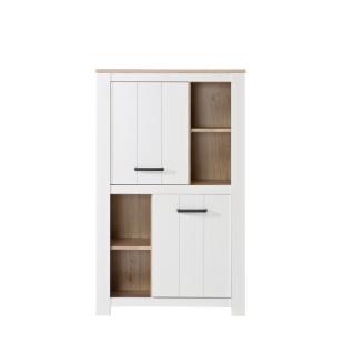 Forte Elara Highboard ERXS413 für Ihr Wohnzimmer oder Esszimmer Schrank mit Türen und offenen Fächern mit Korpus und Front in Weiß matt Dekor und Absetzungen in Bianco Eiche Nachbildung
