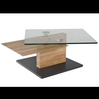 Vierhaus Couchtisch 7889-WEI Wildeiche Massivholz Bodenplatte MDF mit Schliffoptik perlsilberfarbig mit Rollen - Vorschau 3
