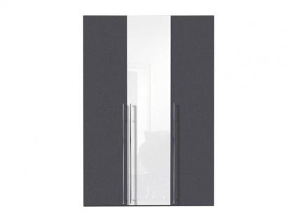 Nolte Express Möbel One 200 Drehtürenschrank 3-türig, mittlere Tür in Lack Weiß, Korpus und Teilfront Graphit