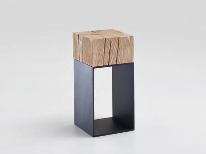 Hartmann Naturstücke Beistelltisch 1015 mit Aufsatzblock in Riffbuche oder Riffeiche Massivholz gebürstet Untergestell Metall anthrazit Tisch in zwei Holzausführung wählbar