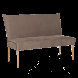 Standard Furniture Bank Kinston Polsterbank mit Massivholzgestell Hochlehner mit aufwendiger kantenumlaufender Binsennaht Bank Kira ohne Armlehnen für Esszimmer oder Küche in drei Holzausführungen Bezug wählbar