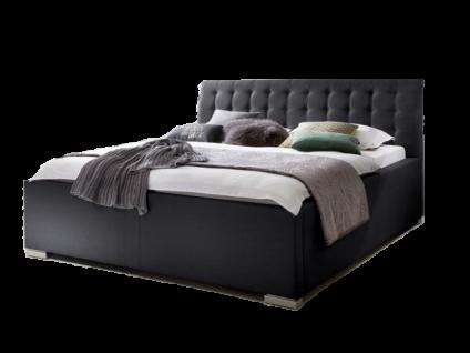 Meise Möbel LA FINCA Polsterbett mit Stoffbezug CHARON mit Bettkasten und Federholzrahmen BELOVIT mit gestepptem Kopfteil Liegefläche und Farbe wählbar Metallfüße gebürstet in Edelstahloptik
