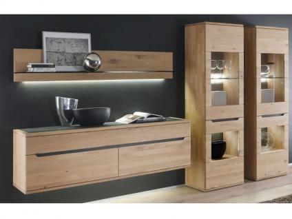 Decker Möbelwerke Wohnwand Ameno Massivholz 4-teilig Kombination Vorschlag 18121 mit Schiefer für Wohnzimmer Ausführung Front / Korpus und Beleuchtung wählbar