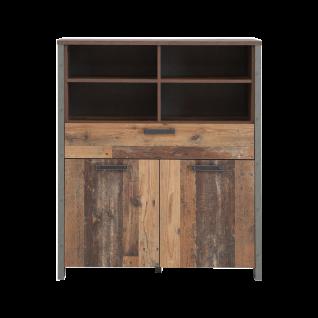 Forte Clif Highboard mit zwei Türen und einem Schubkästen Korpus Old Wood Vintage kombiniert mit Betonoptik dunkelgrau Front Old Wood Vintage für Ihr Wohnzimmer