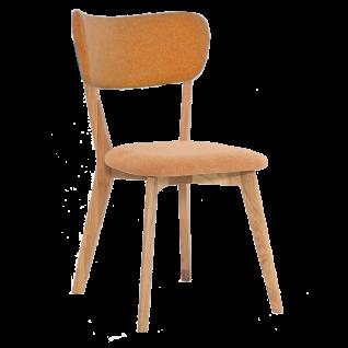 Standard Furniture Stuhl NOCI 1 Massivholzgestell Eiche natur und Polsterbezug orange in Filzoptik für Esszimmer oder Küche