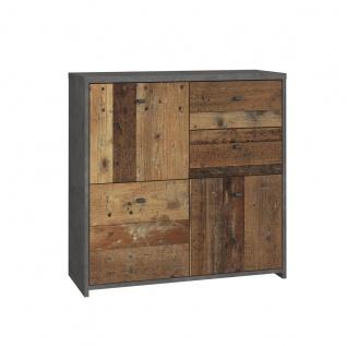 Forte Möbel Best Chest SQNK223 Kommode mit Türen und Schubkästen in Holzoptik Old-Wood und Betonoptik Dunkelgrau