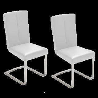 2er Set MCA furniture Schwingstuhl LUNA Flachrohr-Gestell Edelstahl gebürstet Bezugfarbe wählbar Stuhl für Ihr Esszimmer