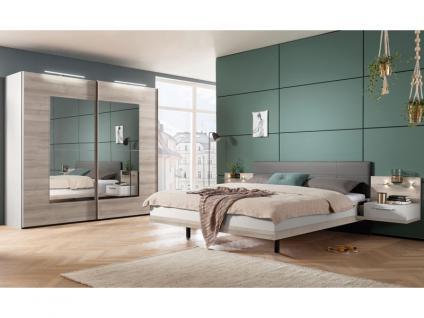 Nolte Möbel Novara Schlafzimmer 4-teilig bestehend aus Schwebetürenschrank 2-türig, Doppelbett Liegefläche 180 x 200 cm inklusive 2 Nachtschränken in Platin-Eiche-Nachbildung mit Absetzung Seidengrau und Kristallspiegel