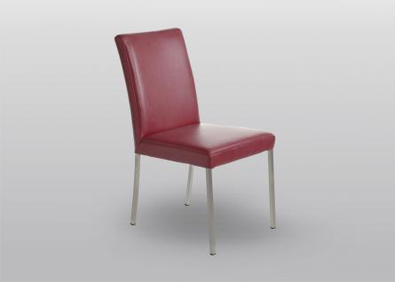 K+W Silaxx 6101 stilvoller 4-Fuß-Stuhl mit Relaxfunktion und Metalluntergestell mit oder ohne Armlehnen in Stoff oder Echtleder Ausführung wählbar