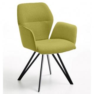 Niehoff Merlot Design Armlehnenstuhl 1132 mit festem Flachstahl Stativ-Gestell oder Design-Armlehnenstuhl mit Flachstahl Stativ-Gestell mit Rückholfunktion 1632 Stuhl für Wohnzimmer oder Esszimmer Bezug wählbar
