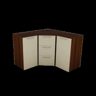 Nolte Möbel Alegro2 Basic Eckkommode 2 Türen und 3 Schubkästen Korpus Macadamia-Nussbaum-Nachbildung Front Hochglanz magnolie Griffe in Nickel-matt