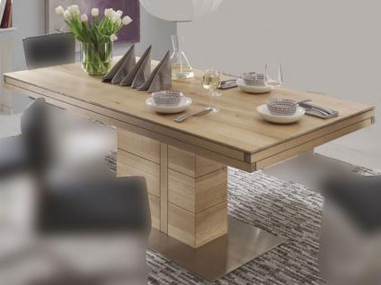 Wimmer Atria F4-100 Esstisch in verschiedenen Längen und Breiten wählbar Massivholz Tischplatte mit Synchronauszug Verlängerungsplatte ca. 100 cm für Esszimmer und Küche