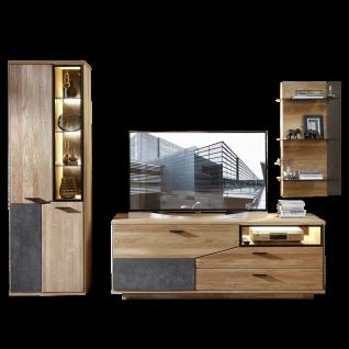 Wohn-Concept Gerano Wohnkombination 45 65 HH 91 mit Vitrine Lowboard und Wandboard 3-teilige Wohnwand in Wildeiche teilmassiv mit Korpus aus Massivholz und Frontabsetzungen in Keramik anthrazit Wohnlösung mit viel Stauraum für Ihr Wohnzimmer