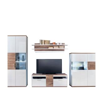 MCA Furniture Luzern LUZ93W01 Wohnkombination 1 für Ihr Wohnzimmer 4-teilige Wohnwand Hochglanz weiß tiefzieh Nachbildung mit Absetzung Sterling Oak