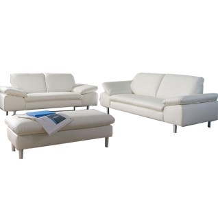 Willi Schillig Einzelsofas Loop 29858 kombiniert mit einem übergroßen Hocker und mit einem exklusiven Echtlederbezug in der Farbe weiß Z59/42 für ein exklusives und luxuriöses Ambiente in Ihrem Wohnbereich mit einer ansprechenden Seitenteilverstellung für