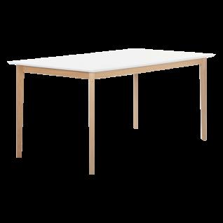 Standard Furniture Esstisch Bonny in 5 Größen mit Tischplatte weiss und Gestell Eiche Massivholz natur geölt
