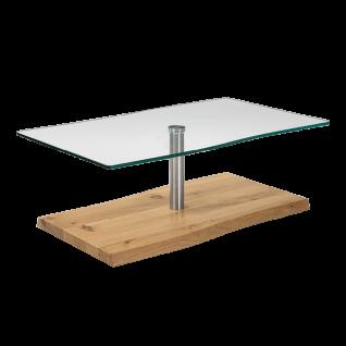 Venjakob Couchtisch 4078-7519 mit Bodenplatte in Wildeiche hell geölt Massivholz und Tischplatte aus Kristallglas Wohnzimmertisch ca. 110 x 70 cm für Ihr Wohnzimmer ***am Lager***
