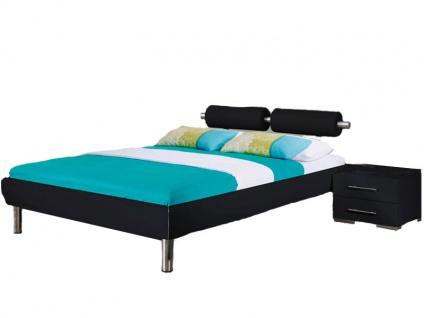 Rauch Select Gala Komfort-Bett in schwarz mit Kopfteil mit Metallstangen und Füßen chromfarben mit 2 Rollen in Lederoptik schwarz Liegefläche wählbar optional mit Nachttischen