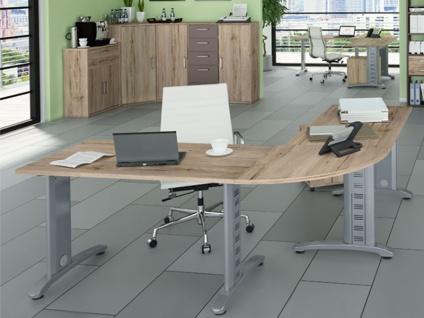 Priess Luna Büro 3-teilig Schreibtisch mit Rollcontainer und Kommode